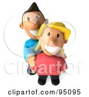 3d Casual Couple Smiling Upwards