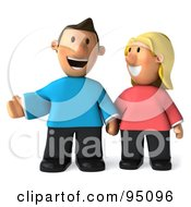 Royalty Free RF Clipart Illustration Of A 3d Casual Couple Standing And Holding Hands 2