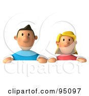 3d Casual Couple Above A Blank Sign - 2