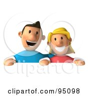 3d Casual Couple Above A Blank Sign - 1