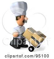 Royalty Free RF Clipart Illustration Of A 3d Chef Man Moving Boxes On A Dolly