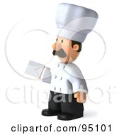 Royalty Free RF Clipart Illustration Of A 3d Chef Man Holding A Letter