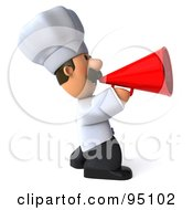 Royalty Free RF Clipart Illustration Of A 3d Chef Man Making An Announcement