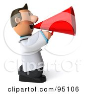 Royalty Free RF Clipart Illustration Of A 3d Toon Guy Doctor Making An Announcement 2