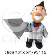Royalty Free RF Clipart Illustration Of A 3d Toon Guy Doctor Holding An Envelope 1