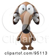 Royalty Free RF Clipart Illustration Of A 3d Brown Pookie Wiener Dog Character Chewing On A Doggy Bone 1