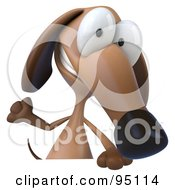 3d Brown Pookie Wiener Dog Character Grinning Over A Blank Sign