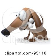 Royalty Free RF Clipart Illustration Of A 3d Brown Pookie Wiener Dog Character Chewing On A Doggy Bone 4