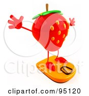Royalty Free RF Clipart Illustration Of A Happy 3d Strawberry Character Standing On A Weight Scale