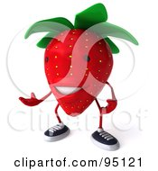 Royalty Free RF Clipart Illustration Of A 3d Strawberry Character Gesturing And Facing Left