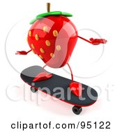 Royalty Free RF Clipart Illustration Of A 3d Strawberry Character Skateboarding 1