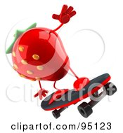 Royalty Free RF Clipart Illustration Of A 3d Strawberry Character Skateboarding 2