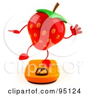 Royalty Free RF Clipart Illustration Of A 3d Strawberry Character Balancing On A Weight Scale