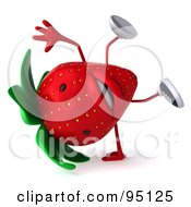 Royalty Free RF Clipart Illustration Of A 3d Strawberry Character Wearing Shoes And Balancing On One Hand