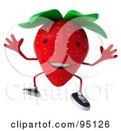 Royalty Free RF Clipart Illustration Of A 3d Strawberry Character Smiling And Jumping