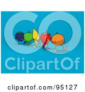 Royalty Free RF Clipart Illustration Of A Line Of A Walking Blackberry Apple Banana Strawberry And Orange Over Blue