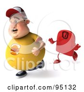 Royalty Free RF Clipart Illustration Of A 3d Chubby Burger Man Running From A Red Scale