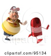 Royalty Free RF Clipart Illustration Of A 3d Chubby Burger Man Chasing A Red Scale