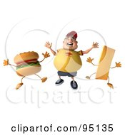 3d Chubby Burger Man Jumping With A Burger And French Fry