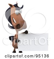 Royalty Free RF Clipart Illustration Of A 3d Charlie Horse Character With A Blank Sign 5