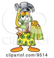 Hammer Mascot Cartoon Character In Green And Yellow Snorkel Gear