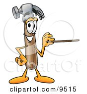 Clipart Picture Of A Hammer Mascot Cartoon Character Holding A Pointer Stick by Toons4Biz