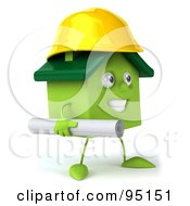 Royalty Free RF Clipart Illustration Of A 3d Green Clay Home Character Builder With Blueprints 1