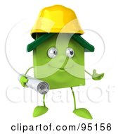 Royalty Free RF Clipart Illustration Of A 3d Green Clay Home Character Builder With Blueprints 2