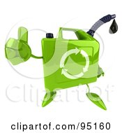 Royalty Free RF Clipart Illustration Of A 3d Eco Gas Can Character Giving The Thumbs Up by Julos