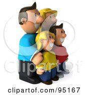 Royalty Free RF Clipart Illustration Of A 3d Happy Caucasian Family Facing Right by Julos