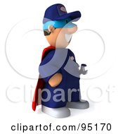 Royalty Free RF Clipart Illustration Of A 3d Toon Guy Auto Mechanic Super Hero 2
