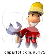 3d Construction Worker Toon Guy Holding Up A Wrench