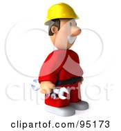 3d Construction Worker Toon Guy Facing Right