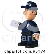 Royalty Free RF Clipart Illustration Of A 3d Police Toon Guy Holding A Letter 2