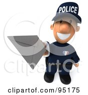 Royalty Free RF Clipart Illustration Of A 3d Police Toon Guy Holding A Letter 1