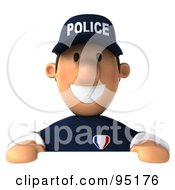 Royalty Free RF Clipart Illustration Of A 3d Police Toon Guy With A Blank Sign Board 2 by Julos