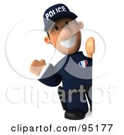 Royalty Free RF Clipart Illustration Of A 3d Police Toon Guy With A Blank Sign Board 1