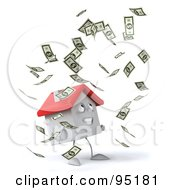 Royalty Free RF Clipart Illustration Of A 3d White Clay Home Character With Falling Cash 1