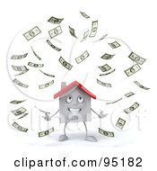 Royalty Free RF Clipart Illustration Of A 3d White Clay Home Character With Falling Cash 1 by Julos