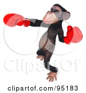 Royalty Free RF Clipart Illustration Of A 3d Chimp Character Practicing Boxing