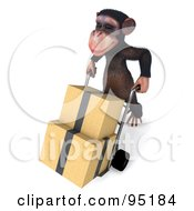 Royalty Free RF Clipart Illustration Of A 3d Chimp Character Delivering Boxes