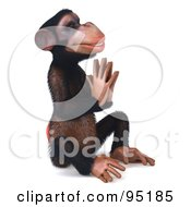 Royalty Free RF Clipart Illustration Of A 3d Chimp Character In Meditation