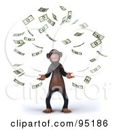 Royalty Free RF Clipart Illustration Of A 3d Chimp Character Surrounded By Falling Banknotes 1 by Julos