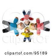 3d Happy Caucasian Family Laying On Their Backs In A Circle Looking Up