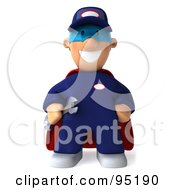 Royalty Free RF Clipart Illustration Of A 3d Toon Guy Auto Mechanic Super Hero 1