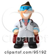 Royalty Free RF Clipart Illustration Of A 3d Toon Guy Doctor Super Hero 1