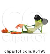 Royalty Free RF Clipart Illustration Of A 3d Argie Frog Wearing Sunglasses 1 by Julos
