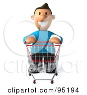 Royalty Free RF Clipart Illustration Of A 3d Casual Man With An Empty Shopping Cart 1 by Julos