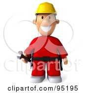 Royalty Free RF Clipart Illustration Of A 3d Construction Worker Toon Guy Facing Front