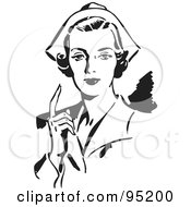 Royalty Free RF Clipart Illustration Of A Black And White Retro Female Nurse Holding Up One Finger by BestVector